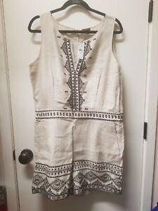 Ann Taylor LOFT Womens Linen Embroidered Khaki Romper Size 14 NWT