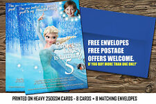 Personalised Birthday Party Invitations Frozen Princess Elsa 8 thick cards  (A6)
