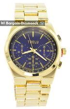 "mens big heavy gold tone business clubbing watch blue dial 8"" bracelet"