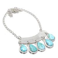 Larimar Gemstone 925 Sterling Silver Silver Handmade Necklace Jewelry 18 4450