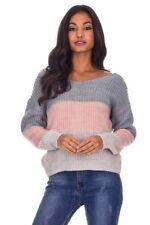 AX Paris Womens Jumper Grey Colour Block Reversible Twist Knot Knitwear Top