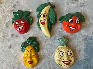 Vintage Anthropomorphic Fruit & Veg Hand Painted Plaster 60's Kitchen Art, 5 Pc