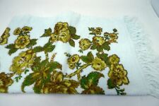 Vintage Terry Bath Towel Yellow Brown Floral White Fringed