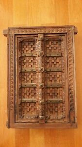 ANTIQUE 1800s ORIENTAL ASIA MIDDLE EAST FORTRESS INDIA WALNUT HANDCARVED WINDOW