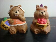 Pilgrim Bear And Indian Bear - 1989 Hallmark Thanskgiving Merry Miniatures