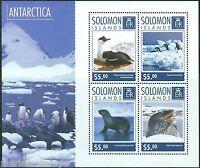 SOLOMON ISLANDS  2014 ANTARCTICA INDIGENOUS ANIMALS SHEET MINT NH