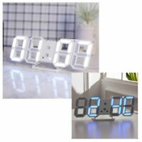 3D Modern Digital LED Table Desk Night Wall Clock Alarm Watch 24 or 12 Hour J6M7