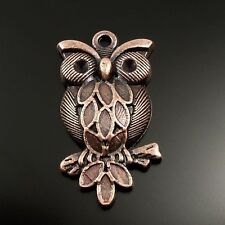 Antiqued Style Copper Tone Alloy Cute Owl Bird Pendant Charms 28mm 30pcs 32074