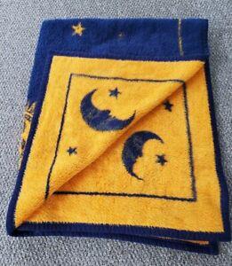 "Vtg Biederlack Throw Sun Moon Blue Yellow Reversible Blanket Zodiac USA 57""x47"""