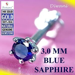 3.0mm Natural BLUE SAPPHIRE 14kGold Nose Pin Lip Labret Piercing Screw Ring Stud