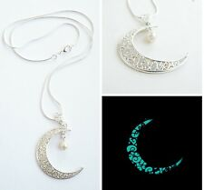 """Blue Glowing pendant Crescent Moon. Celestial&Horoscope silver plated chain 20"""""""