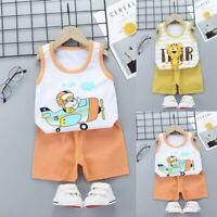 2PCS Toddler Boys Baby Kids Girls Summer Cartoon Vest+Shorts Outfit Set Clothes