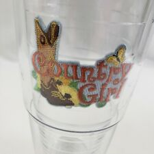 "Country Girl Tervis Tumbler Cowgirl Clear Black Lid 24oz 8"" Tall"