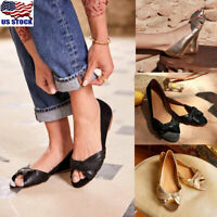 Womens Summer Open Toe Flat Shoes Slip On OL Ladies Work Flat Sandals Shoes Size