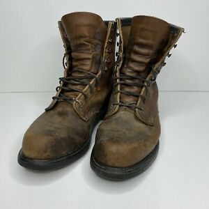 Red Wing 953 Made In USA Brown Leather Work Boots Super Sole Mens Size 8 D