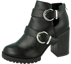 WOMENS ANKLE BOOTS BLACK CHUNKY BLOCK HEEL CHELSEA SHOES BOOTS SIZE UK 5 6 7