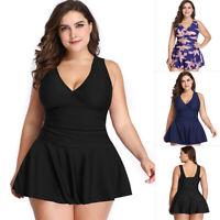 Women Two Piece Swimwear Swimsuit Swimdress Padded Tummy Control Plus Size S-3XL