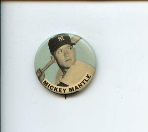 "1960s PM10 Baseball 1 5/8"" Pin Mickey Mantle New York Yankees Lt Blu Back EXMT"