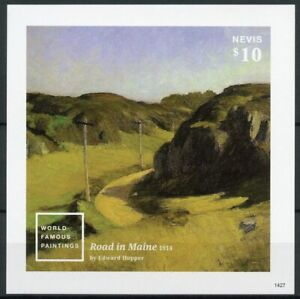 Nevis Art Stamps 2014 MNH World Famous Paintings Edward Hopper 1v IMPF S/S II