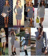Striped Long Sleeve Asymmetric Dresses for Women