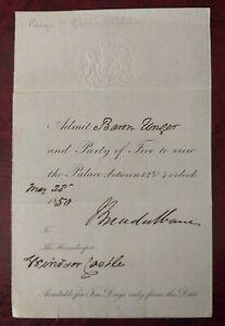 Scarce Original 1850 signed Windsor Castle viewing ticket - Queen Victoria