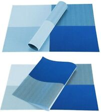 Set of 6 Blue PVC Non Slip Dining Table Washable Place Mats, Medium 12x18 inches