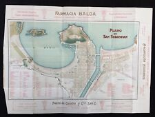 San Sebastian - Spain - c.1920's Decorative Folding Map by G. Garcia