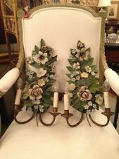 Pair of 18th Century French Tole Ware Floral Bouquet Wall Sconces c1900 Updates