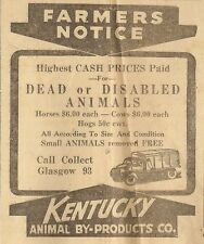 KENTUCKY ANIMAL BY-PRODUCTS AD - GLASGOW, KY Glasgow Times February 1, 1951
