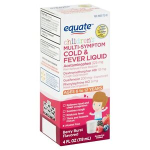 Equate Children's Berry Burst Flavored Multi-Symptom Cold &Fever Liquid 4 fl OZ.