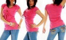 ♥ SeXy Miss Damen Girly Bolero Look Long Shirt Top Karo Style XS 32/34 pink Neu