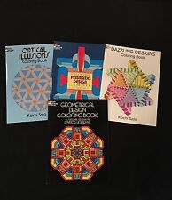 ~DESIGNS..Geometrical ,Optical Illusions, Prismatic... FOUR COLORING BOOKS !!!!