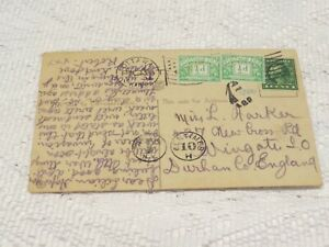 POSTAL HISTORY 1914 USA STAMP POSTAGE DUE STAMPS VARIOUS CANCELS ON POSTCARD