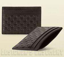 GUCCI chocolate brown Micro Guccissima GG Leather Card Case NIB Authentic $195!