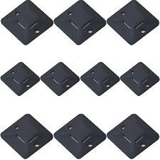 10x-Câble en plastique noir cravate bases -28 x5mm-sticky dos adhésif Mont tidy mur
