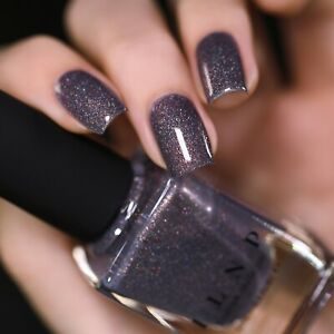 ILNP Chateau - Charcoal Grey Holographic Shimmer Nail Polish