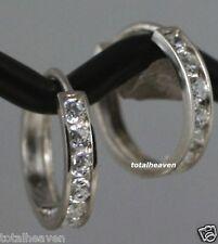 14K White Gold Huggies Hoop CZ Earrings 11mm D-Flawless