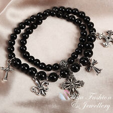 18K White Gold Plated Stylish Double Layer Cross Black Stretch Beaded Bracelet