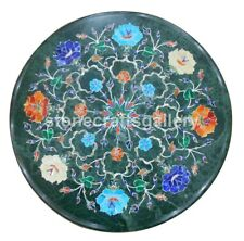 """14"""" Green Marble Top Side Coffee Table Multi Stone Floral Inlay Patio Decor B184"""