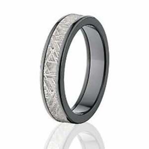 5mm Wide Black Zirconium and Meteorite Ring with Comfort Fit - BZ-5F-Meteorite