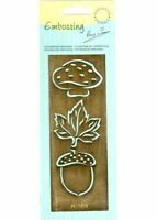 Brass * Stencil * Emboss * Maple *Leaf*Mushroom*Acorn *  AE1209*Marianne Design