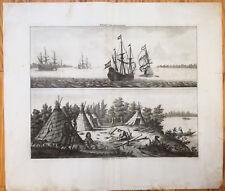 Bruyn Large Original Print River Ship Archangelsk Russia Saami - 1714