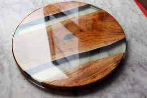 "15"" Epoxy Corner Table Top Resin Wooden Furniture Home Decor"