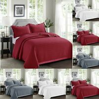 Luxury Embossed Bedspread Quilted 3 piece Comforter Throw Bedding Set Pillowcase
