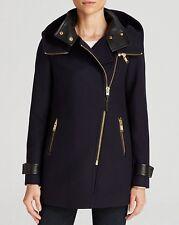 BNWT Mackage Dalida Asymmetrical Zip Hooded Navy Wool Coat  M 8 10 650
