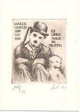 """ANNA LASZLO: Exlibris für Mario de Filippis, """"Charlie Chaplin"""""""