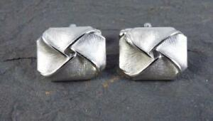 Vintage Sterling Silver ANSON Pat Pend. Bright & Satin Finish Handsome Cufflinks