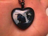 BLACK CROW Raven Orange Back Pendant Ribbon Necklace horror goth edgar allan poe