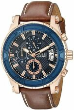 Guess Men W0673G3 Navy Blue Chrono Dial Brown Leather Band Watch