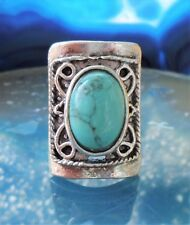 Ring in Vintage Style with Turquoise Coloured Stone Tibet Silver Rectangular